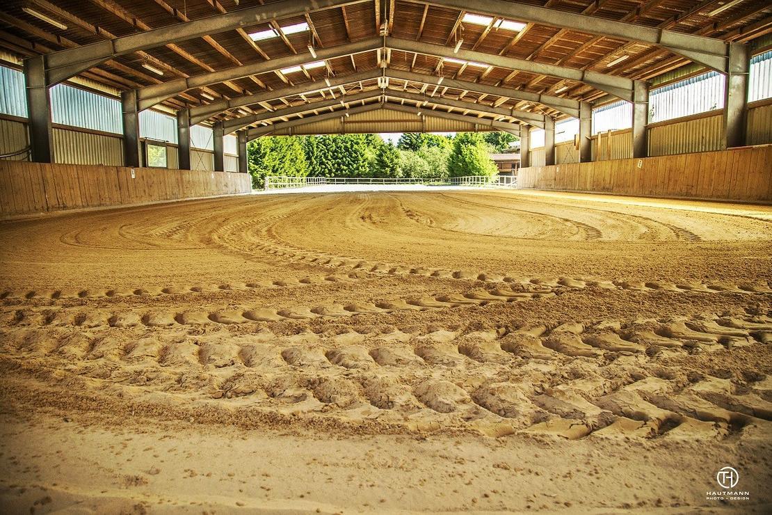 Reithalle mit driekt angrenzendem Sandplatz