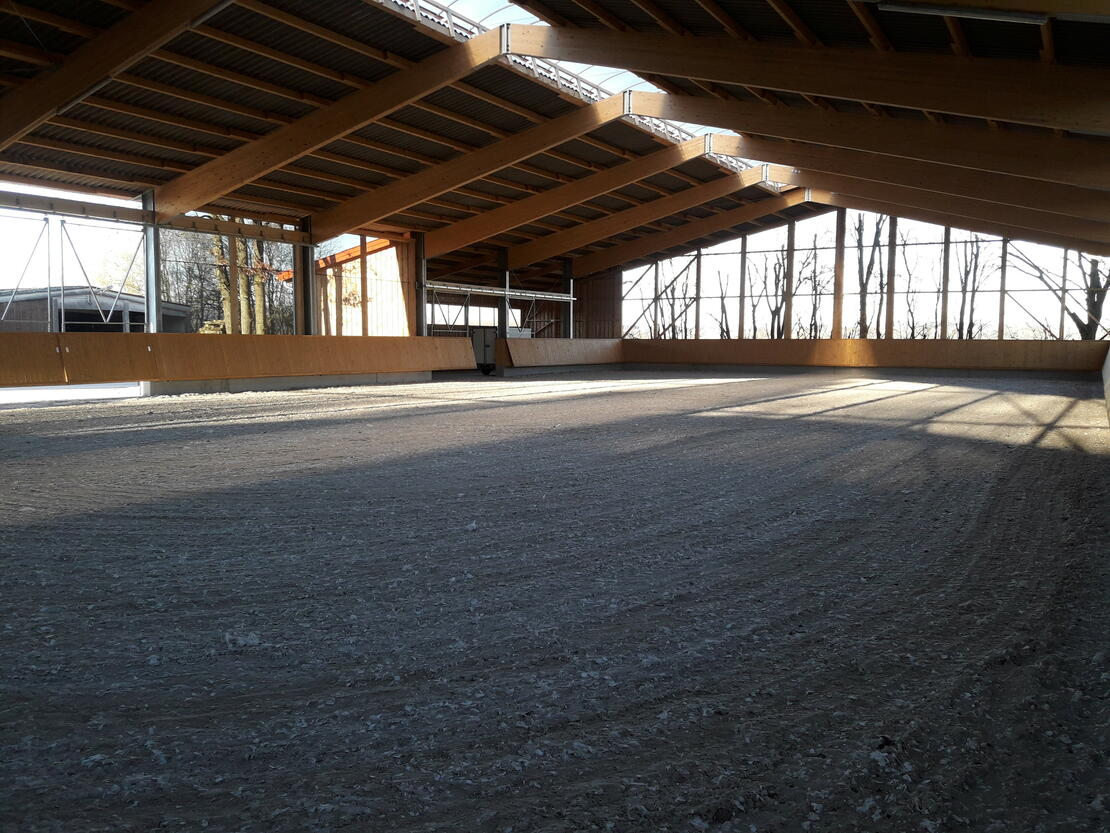Neue Reithalle mit Quarzsand/Fleece-Boden