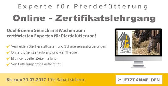Onlinelehrgang: Experte für Pferdefütterung - Bis zum 31.07.2017 anmelden und 10% sparen!