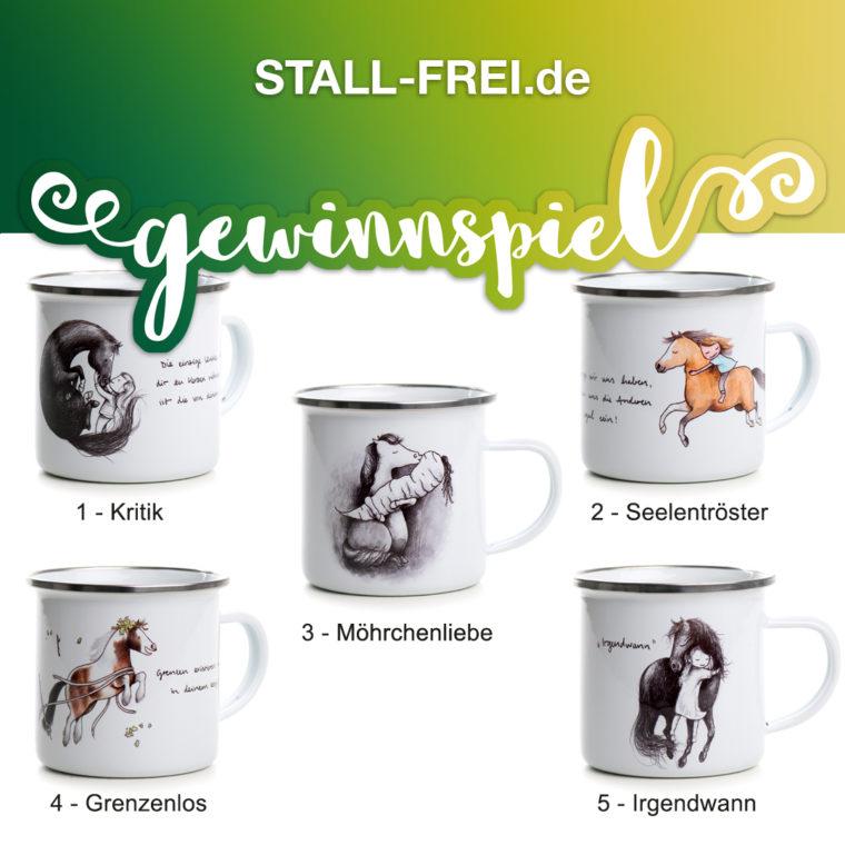 Gewinnspiel, STALL-FREI.de, Das  gestiefelte Pferd, Emailletasse, Tasse, Pferdemotiv