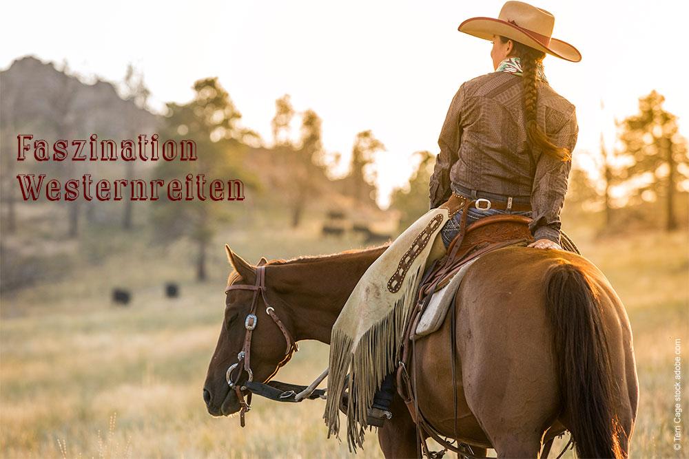 Westernreiterin auf Pferd schaut in sonnenuntergang